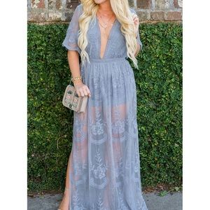 Lace Overlay Maxi Romper Dress Free People Dupe